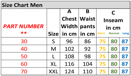 pfanner clothing size chart men