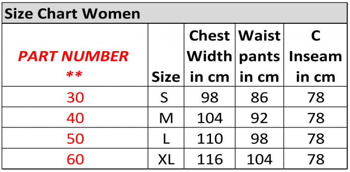 pfanner clothing size chart women