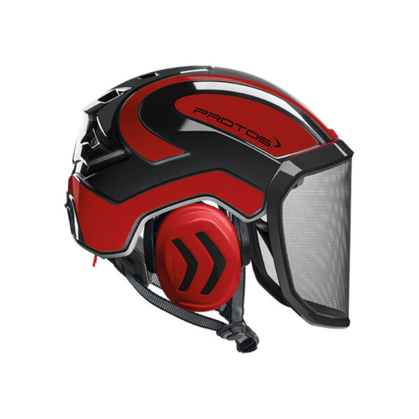 protos integral arborist helmet black red