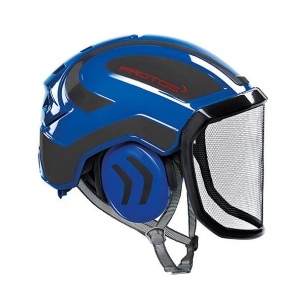 protos integral arborist helmet blue grey