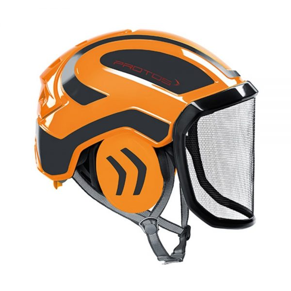 protos integral arborist helmet orange grey