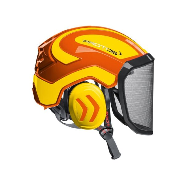 protos integral arborist helmet orange yellow