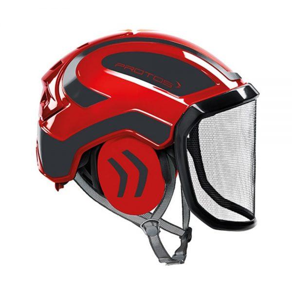 protos integral arborist helmet red grey